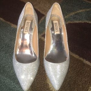 Badgley Mischka silver sparkles high heels